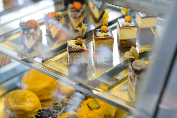 Cake and pastry in window display canteen Stock photo © CandyboxPhoto