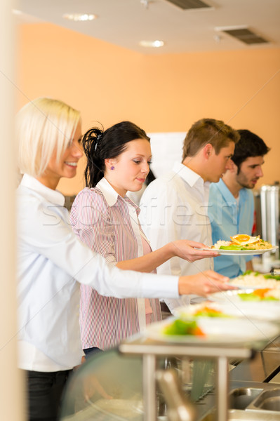 Young business colleagues queue canteen lunch Stock photo © CandyboxPhoto