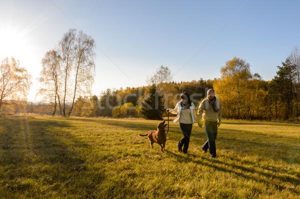 Couple walk dog in countryside autumn sunset  Stock photo © CandyboxPhoto