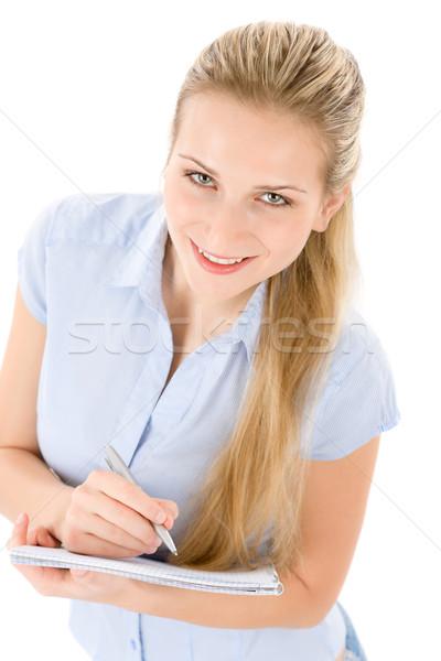 Stock fotó: Boldog · diák · nő · ír · jegyzetek · fehér