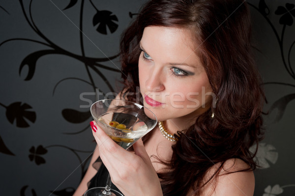 Cocktail party vrouw avondkleding genieten drinken partij Stockfoto © CandyboxPhoto