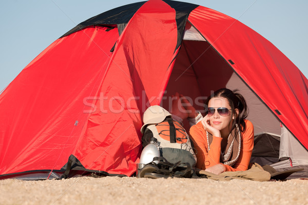 Camping happy woman in tent on beach  Stock photo © CandyboxPhoto