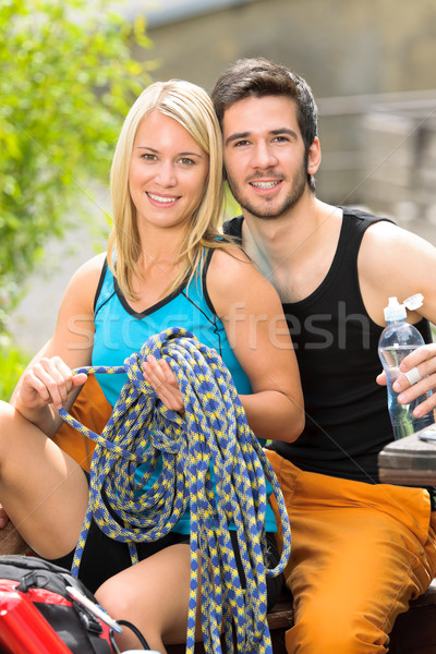 Active young couple climbing gear relax terrace Stock photo © CandyboxPhoto