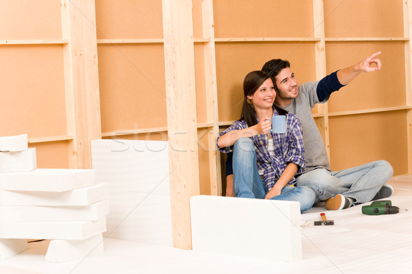 Home improvement young couple relax building wall Stock photo © CandyboxPhoto