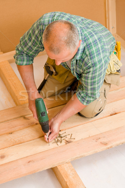 Handyman home improvement wooden floor screwdriver Stock photo © CandyboxPhoto