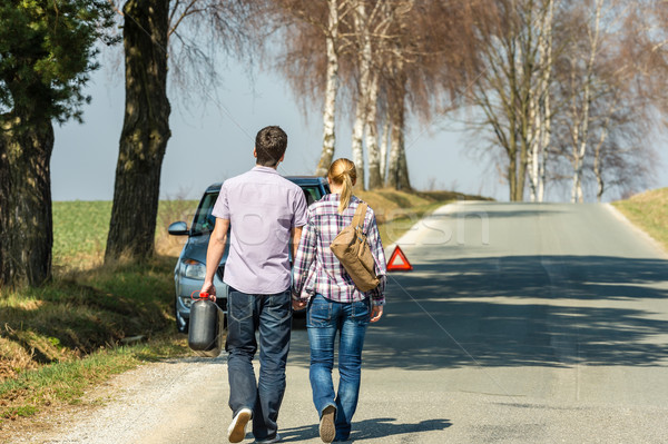 Fill up petrol couple with car trouble Stock photo © CandyboxPhoto