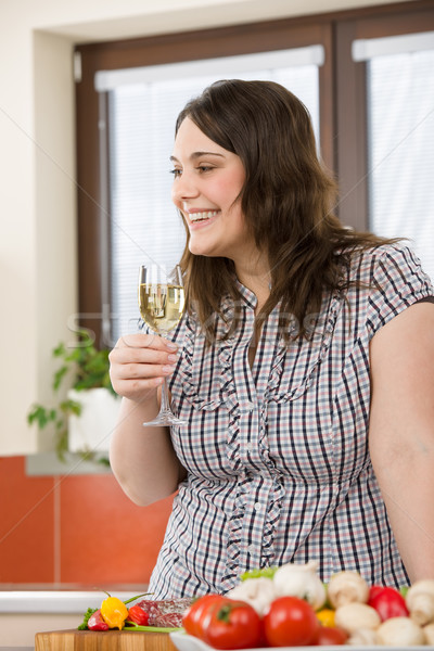 Cook - plus size woman with white wine and vegetable Stock photo © CandyboxPhoto