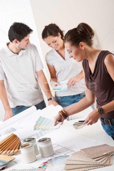 Női belsőépítész kettő ügyfelek iroda választ Stock fotó © CandyboxPhoto