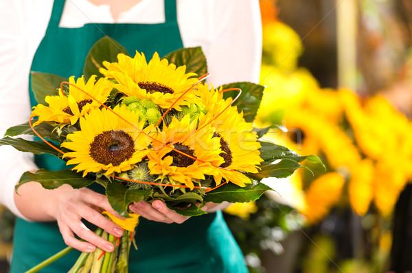 Bouquet sunflowers flower shop female florist holding Stock photo © CandyboxPhoto