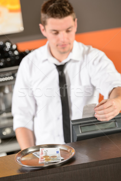 Young bartender in uniform taking cash euro  Stock photo © CandyboxPhoto