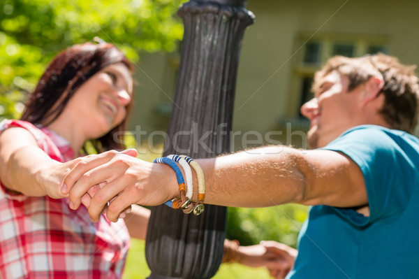 Playful couple having fun in the park Stock photo © CandyboxPhoto
