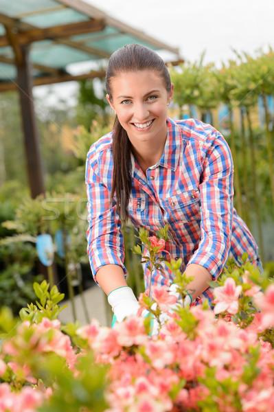 саду центр женщину рабочих улыбаясь Сток-фото © CandyboxPhoto