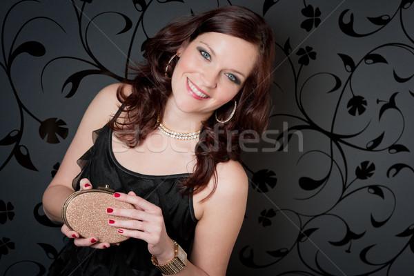 Cocktail party vrouw avondkleding houden handtas dragen Stockfoto © CandyboxPhoto