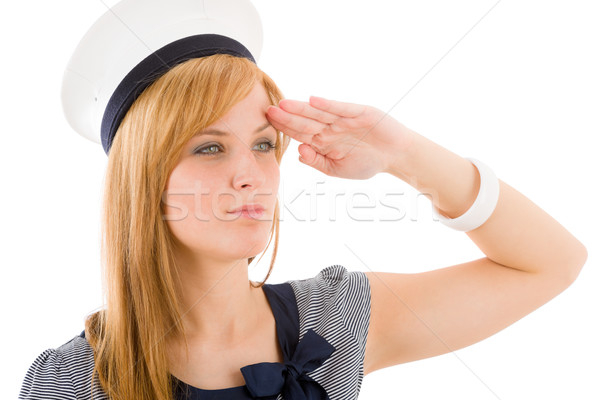 Young marine woman saluting navy outfit Stock photo © CandyboxPhoto