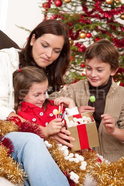 Stok fotoğraf: Mutlu · aile · anne · oğul · kız · Noel · kadın