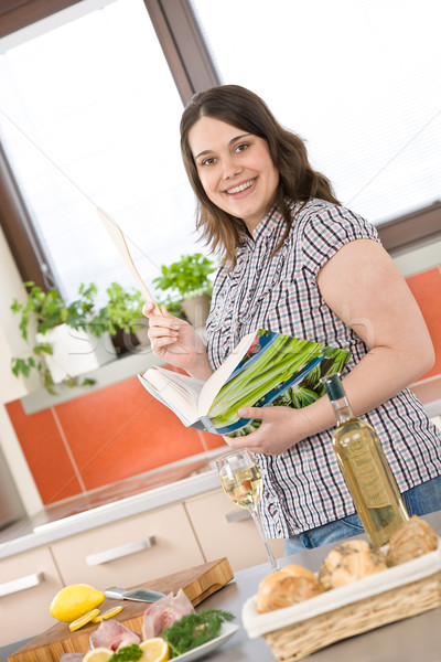 Cook - plus size woman prepare fish with white wine Stock photo © CandyboxPhoto