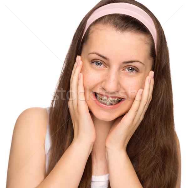 Ragazza felice bretelle isolato adolescente bellezza bianco Foto d'archivio © CandyboxPhoto