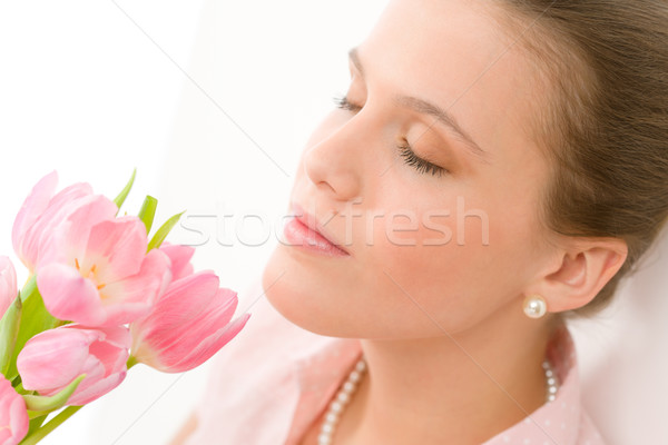 Fashion - young romantic woman smell spring tulips Stock photo © CandyboxPhoto