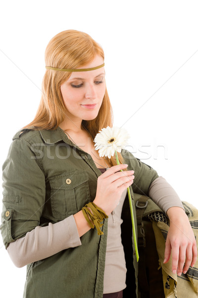Hippie young woman hold gerbera daisy Stock photo © CandyboxPhoto