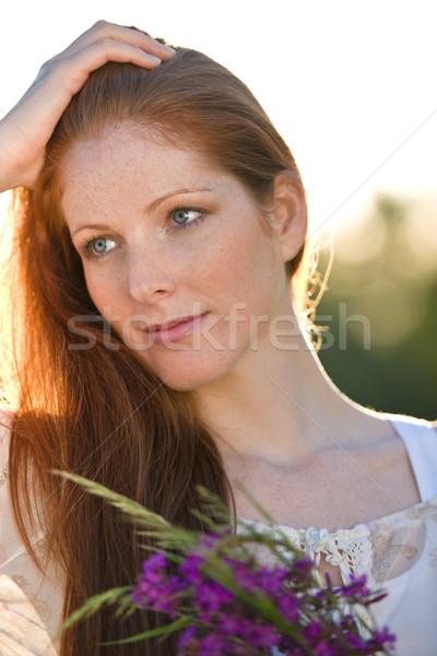 Сток-фото: долго · женщину · букет · цветок · романтические