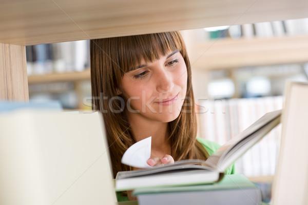 Stock fotó: Diák · könyvtár · boldog · nő · olvas · könyv