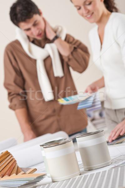Dos decorador de interiores de trabajo oficina color pueden Foto stock © CandyboxPhoto