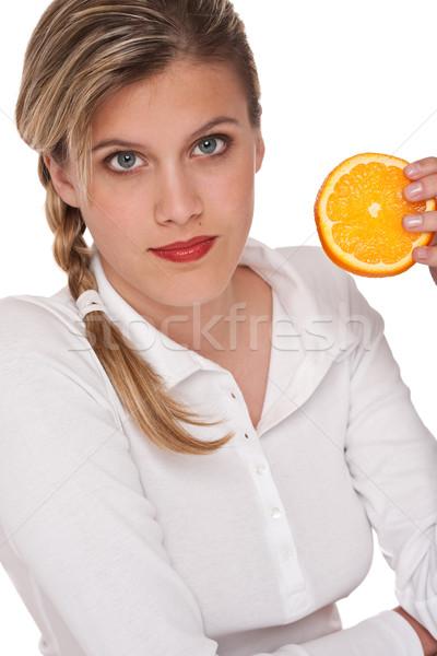 Stok fotoğraf: Kadın · dilim · turuncu · beyaz