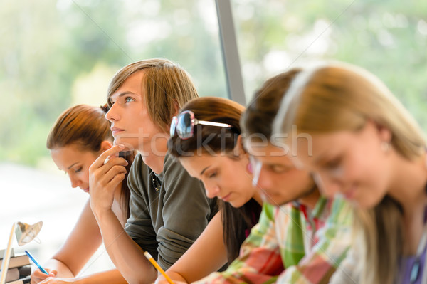 High-school student thinking at exam class teens Stock photo © CandyboxPhoto