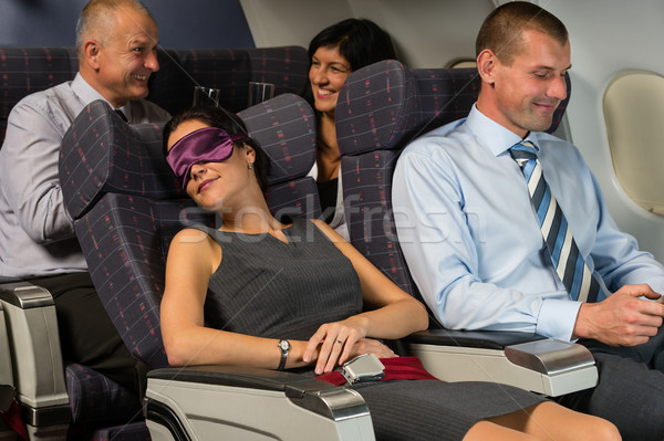 Business woman sleep during flight airplane cabin Stock photo © CandyboxPhoto