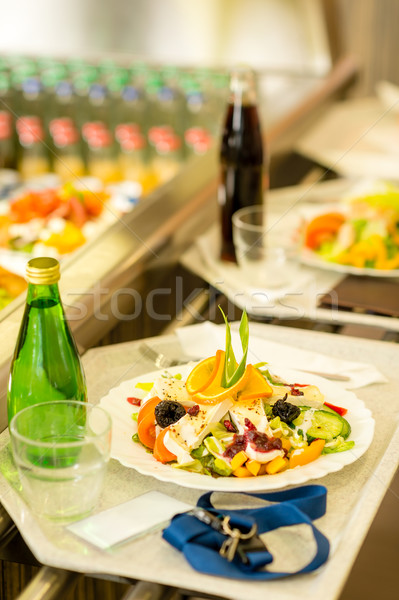 Canteen serving tray healthy food fresh salad Stock photo © CandyboxPhoto