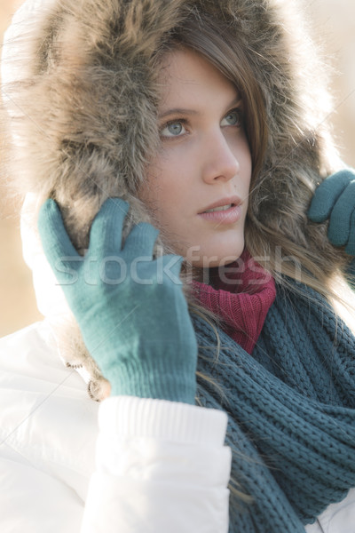 Winter fashion - woman with fur hood outdoors Stock photo © CandyboxPhoto