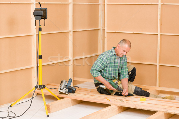 Ezermester lakásfelújítás fapadló rendbehoz érett installál Stock fotó © CandyboxPhoto