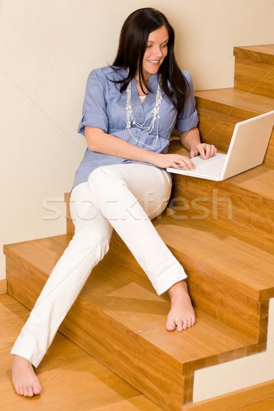 Otthon élet boldog nő munka laptop Stock fotó © CandyboxPhoto