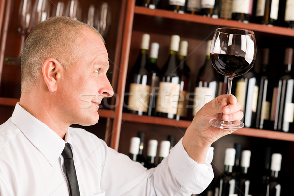 Wine bar waiter looking at glass restaurant Stock photo © CandyboxPhoto