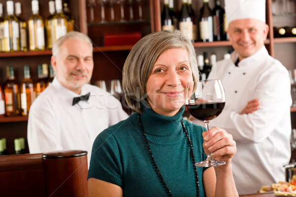 Restaurant manager taste glass red wine bar Stock photo © CandyboxPhoto