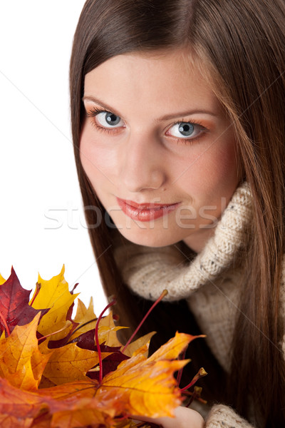 Sonbahar portre güzel bir kadın yaprak balıkçı yaka Stok fotoğraf © CandyboxPhoto