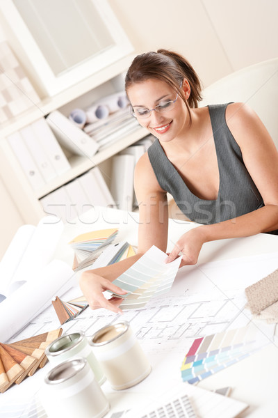 Kadın iç mimar çalışma renk ofis Stok fotoğraf © CandyboxPhoto