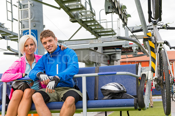 Young couple sitting chair lift waiting departing Stock photo © CandyboxPhoto