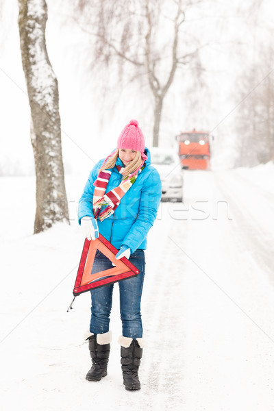 Woman with reflector triangle car snow breakdown Stock photo © CandyboxPhoto
