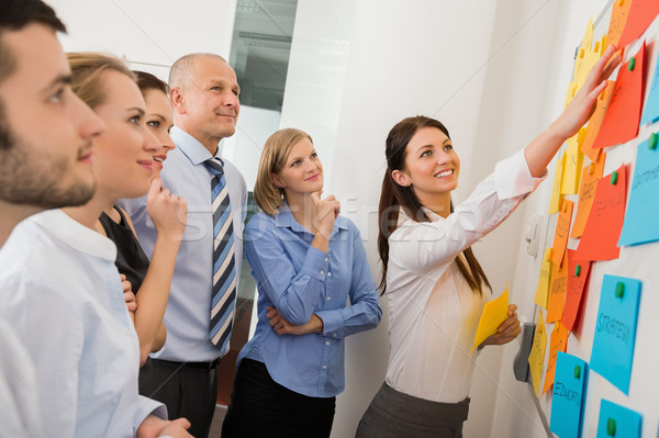 Businesswoman Pointing Labels On Whiteboard Stock photo © CandyboxPhoto