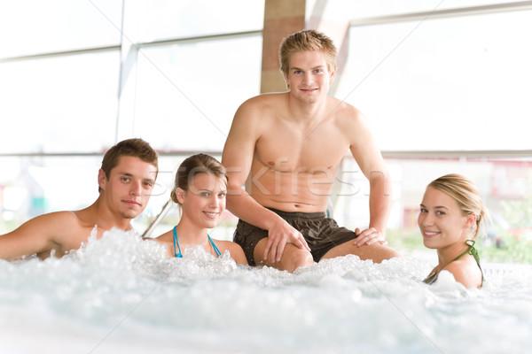 Stok fotoğraf: Yüzme · havuzu · mutlu · insanlar · dinlenmek · genç · kadın