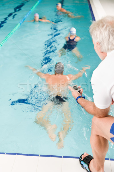 Photo stock: Piscine · coach · formation · concurrence · piscine