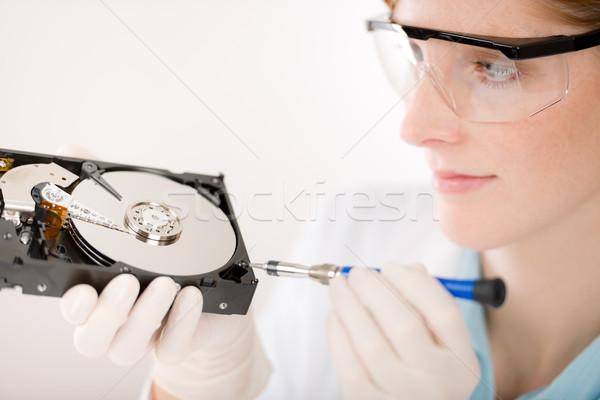 Foto stock: Feminino · computador · engenheiro · mulher · reparar · disco