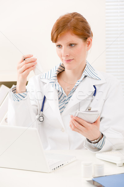 Doctor office - female physician prescription pill Stock photo © CandyboxPhoto