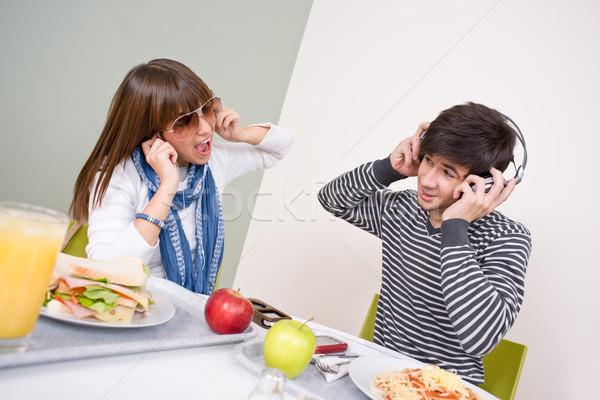 Estudiante Pareja pausa para el almuerzo Foto stock © CandyboxPhoto