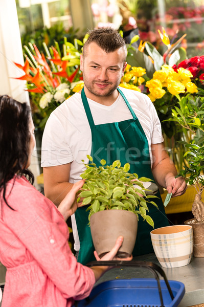Smiling male florist selling potted plant flower Stock photo © CandyboxPhoto