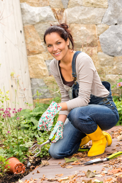Woman gardening yard housework flowerbed hobby tools Stock photo © CandyboxPhoto