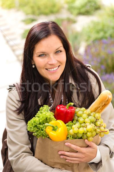 Uśmiechnięta kobieta zakupy warzyw artykuły spożywcze torby papierowe stałego Zdjęcia stock © CandyboxPhoto
