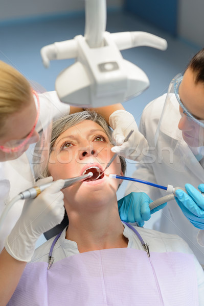 Elderly woman patient open mouth dental checkup Stock photo © CandyboxPhoto