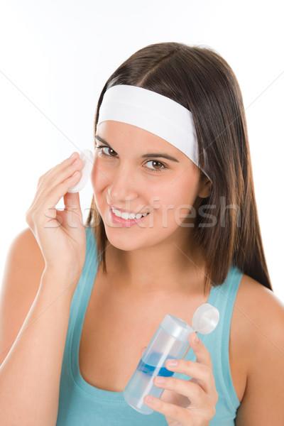Adolescente problema cuidado de la piel mujer limpiar algodón Foto stock © CandyboxPhoto